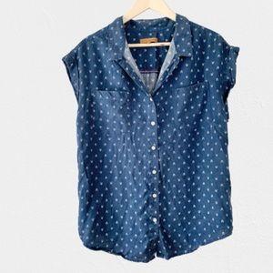 Jachs Girlfriend Cap Sleeve Button Down Shirt-L
